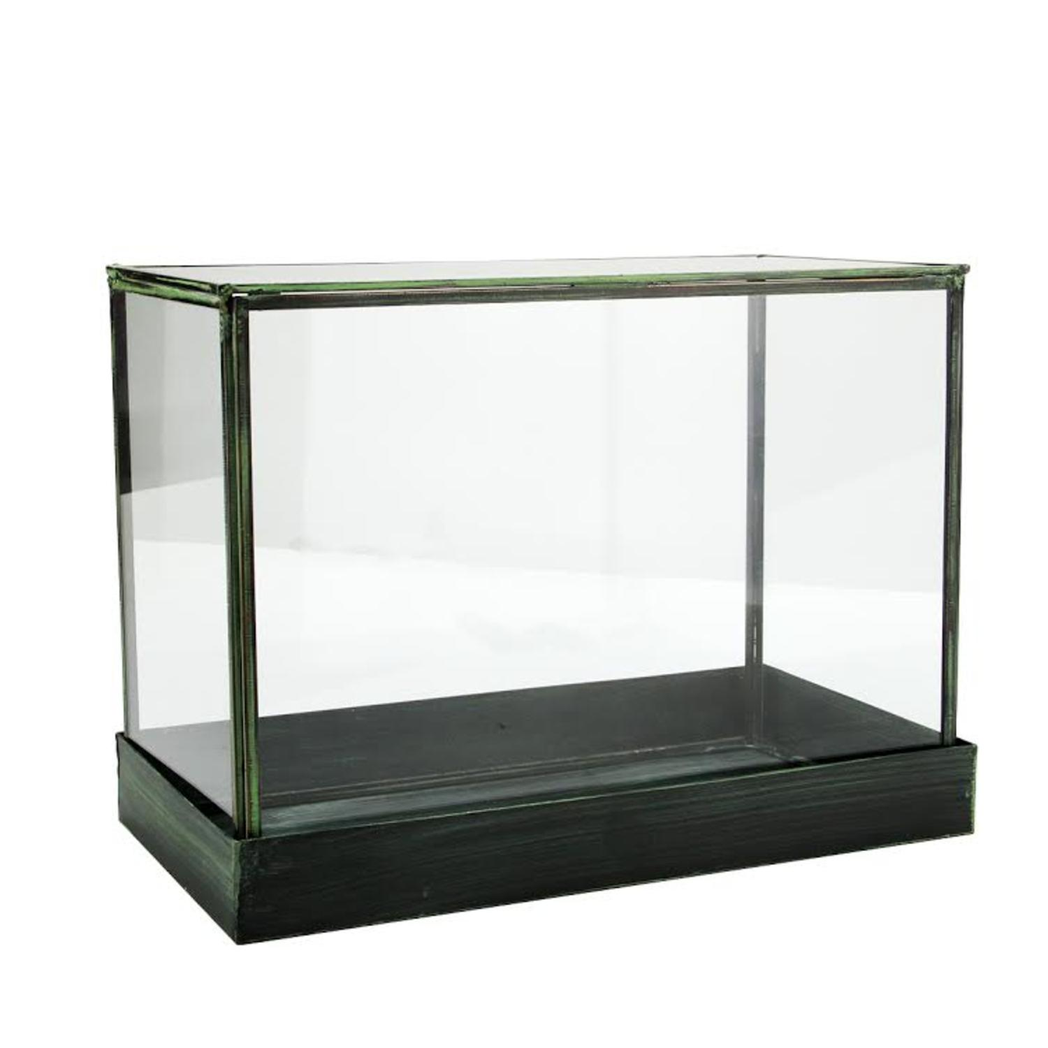 "12.25"" Rectangular Table Top Glass Terrarium with Green Metal Base"