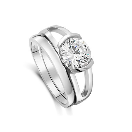 DTLA Sterling Silver CZ Solitaire Half Bezel Double Band Ring Set Sizes 5-11