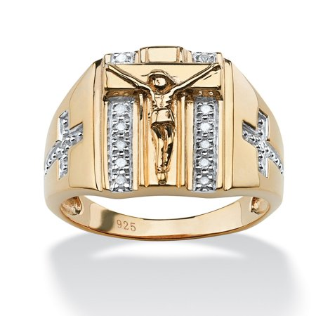 Crucifix White Gold Ring - Men's 1/10 TCW Round Diamond Crucifix and Cross Ring in 18k Gold over Sterling Silver
