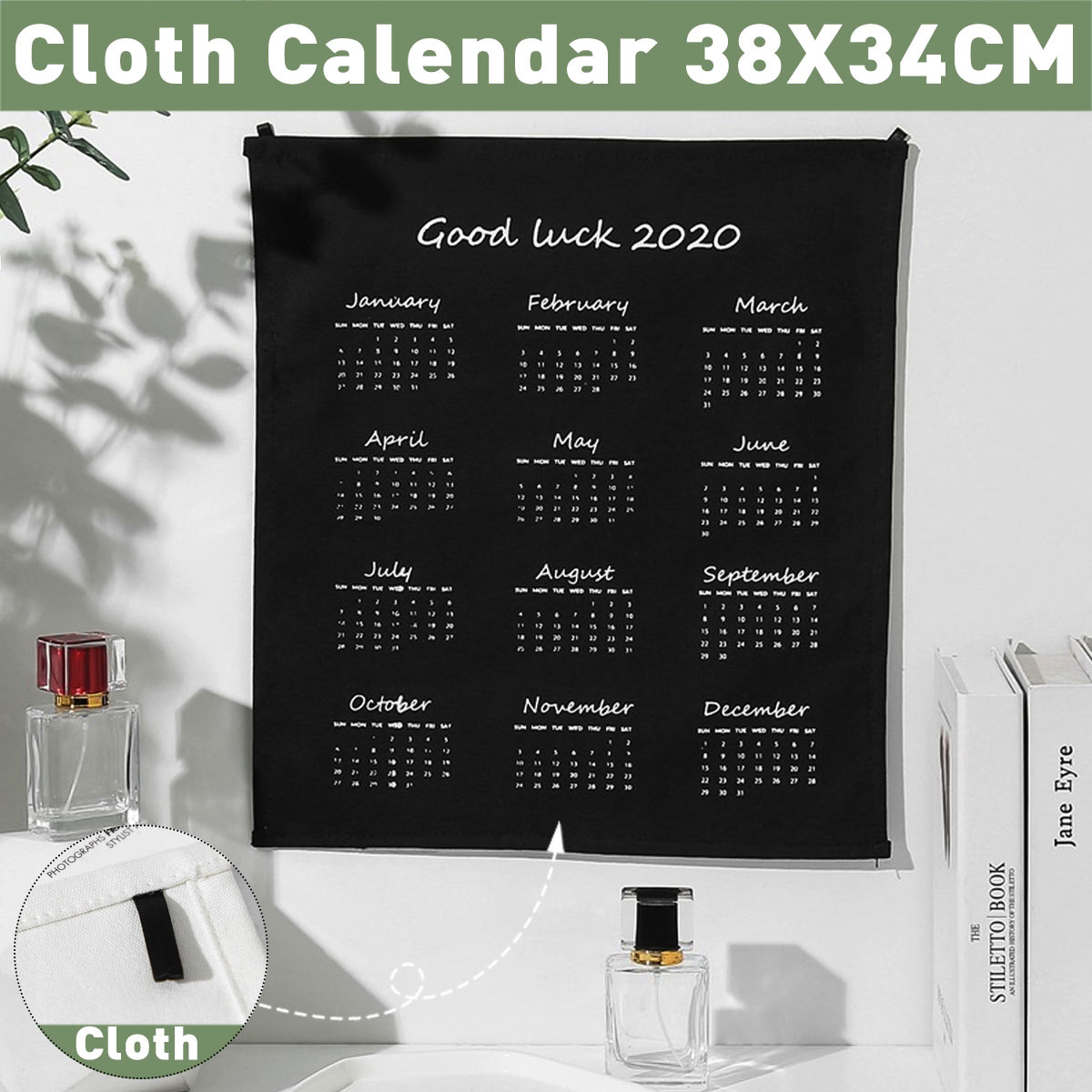 2020 Cloth Wall Calendar Black White Simple Modern Style Wall Hanging For Home Livingroom Bedroom 15 13inch Walmart Canada