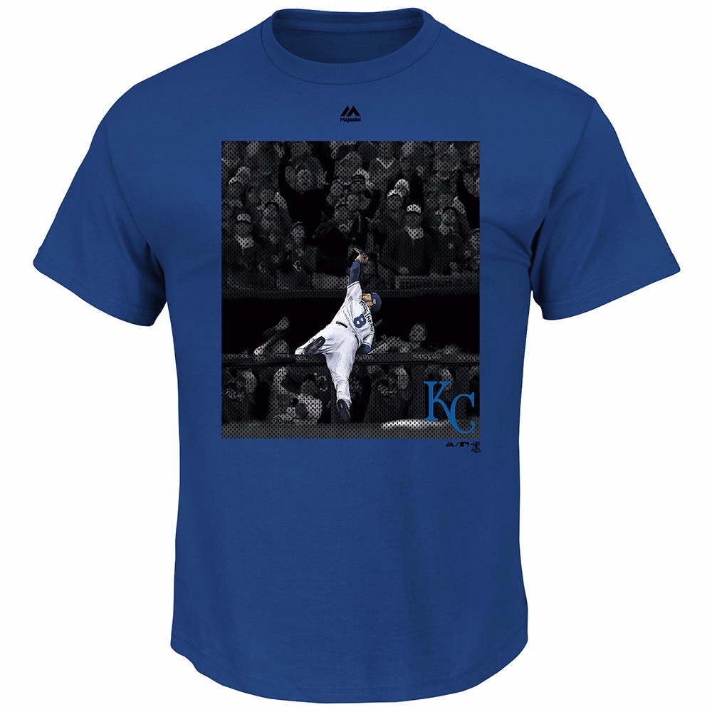 Mike Moustakas Kansas City Royals MLB Majestic Men's Blue Photo Graphic T-Shirt
