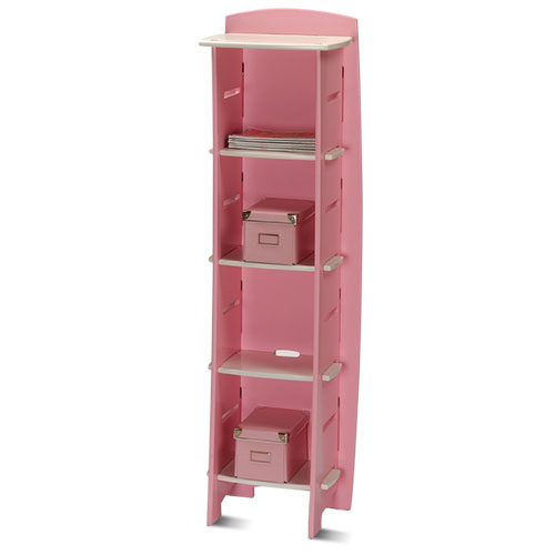 No Tools Assembly - Bookcase, Pink and White