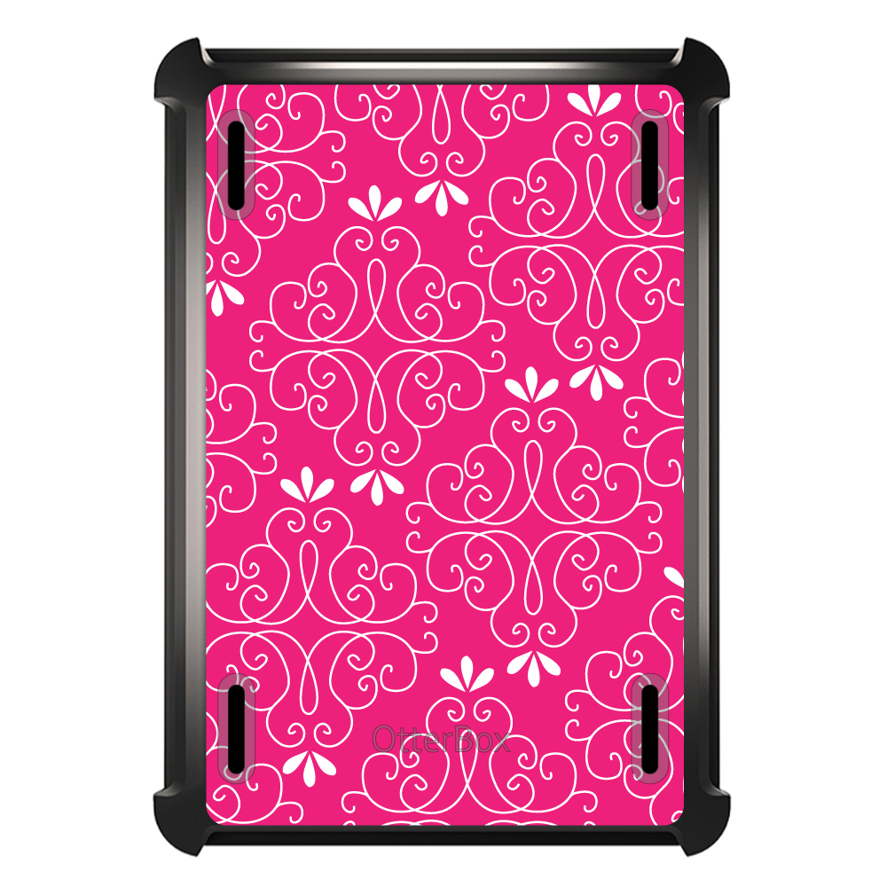 CUSTOM Black OtterBox Defender Series Case for Apple iPad Mini 1 / 2 / 3 - Neon Pink White Floral