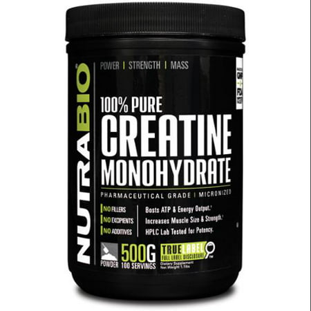 NutraBio 100% Creatine Monohydrate Powder - 500 g - Muscle Building