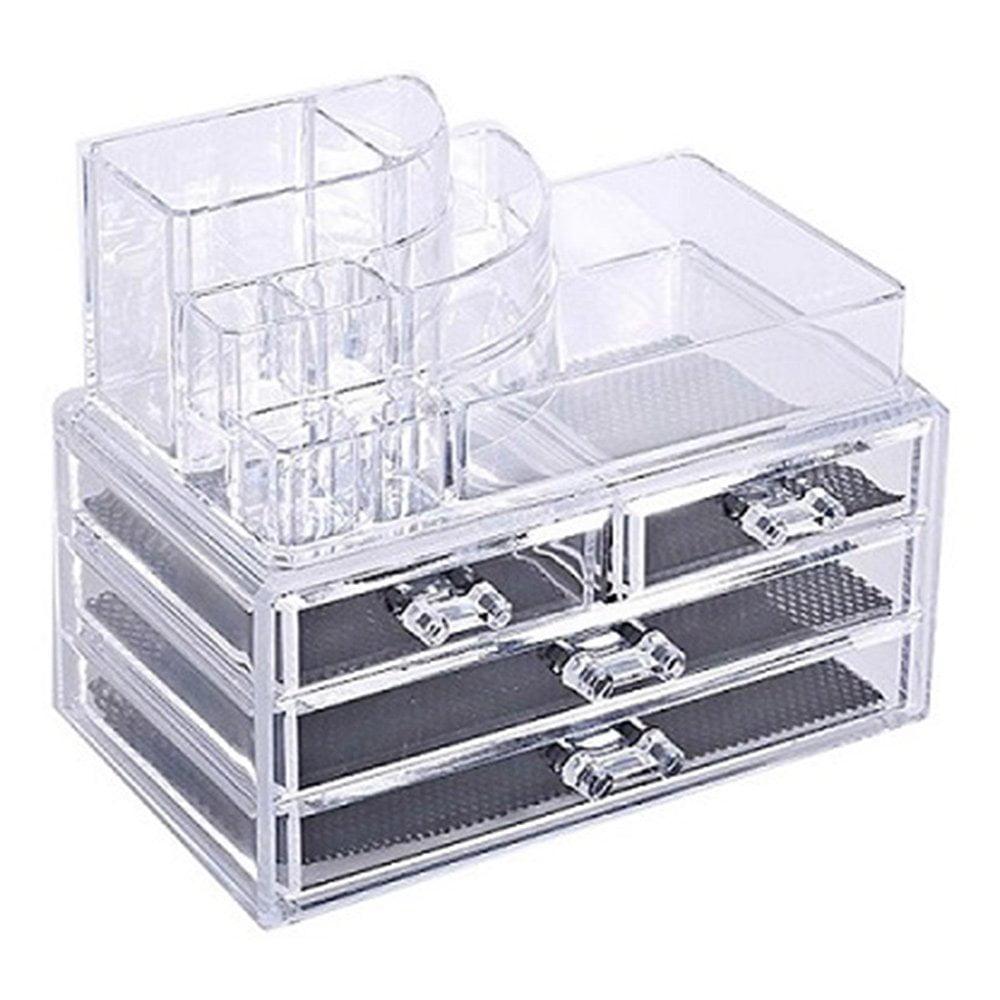 Acrylic Makeup Organizer Cosmetic Display Box 4 Drawer Jewelry