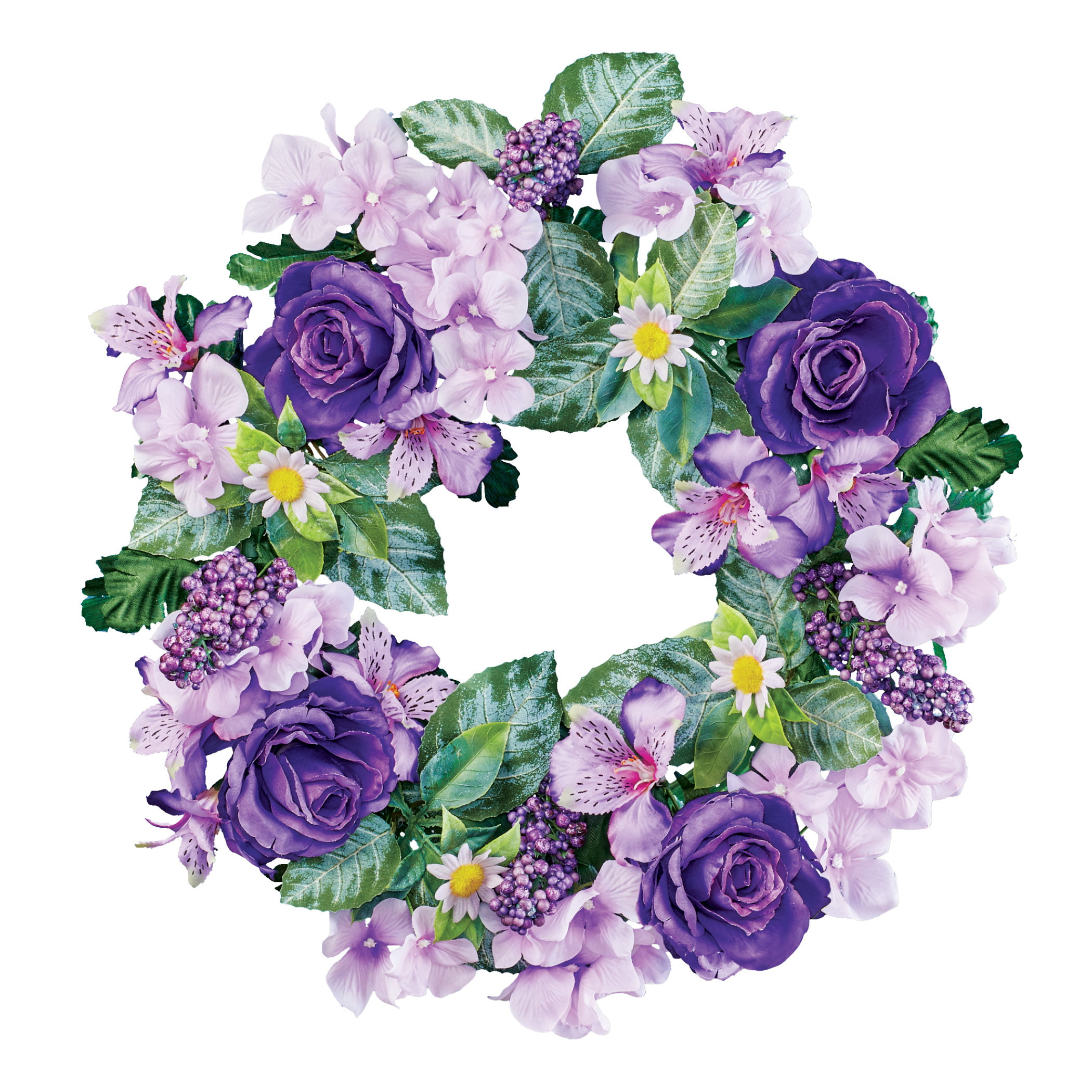 Beautiful Mixed Purple Flowers Floral Wreath Hang On Front Door Wall Any Room In Home Hook On Back For Easy Hanging 18 Dia Polyester Pp Plastic Wire Walmart Com Walmart Com