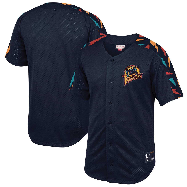 Golden State Warriors Mitchell & Ness Winning Team Mesh Button Front Shirt - Royal