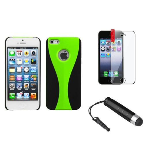 Insten Green/Black Rubber Wave Back Protector Cover Case+Film+Stylus For iPhone SE 5 5S