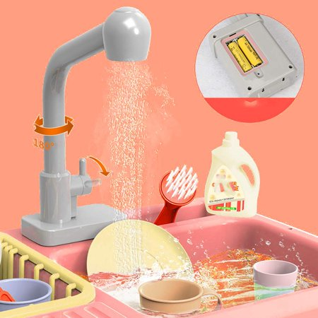Kitchen Sink Toys Pretend Play Wash Up Kitchen Toys Dishwasher Cutting Toys Kitchenware Press Water Faucet, Heat Sensitive Thermochromic Dishwash Color Changing Kitchen Sink Toys for Children(RED)