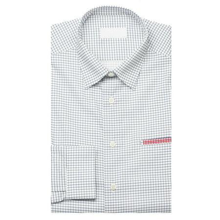 Prada Men S Gingham Pointed Collar Cotton Dress Shirt White Navy