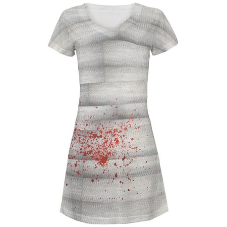 Halloween Bloody Mummy Costume All Over Juniors V-Neck Dress - Halloween Mummy Art