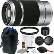 Sony E 55-210mm f/4.5-6.3 OSS E-Mount Lens (Silver) + 49mm UV Filter & More