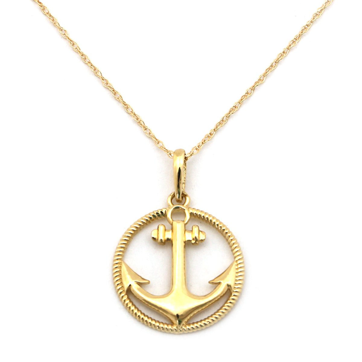 14k Yellow or White Gold Anchor in Rope Textured Circle P...