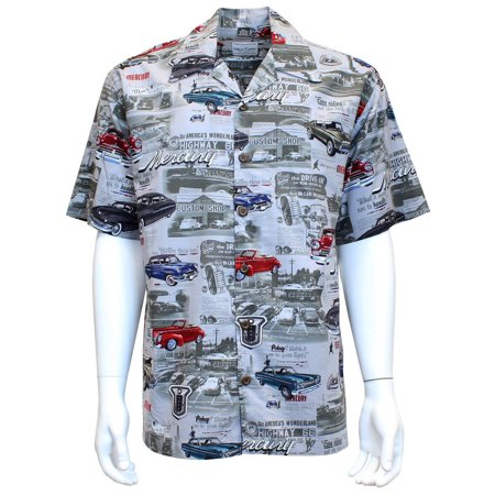 David Carey Vintage Ford Mercury And Comets Hawaiian Camp Club Shirt Button