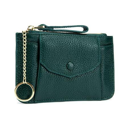 dcd3217c8c6 Pixnor - Women Genuine Leather Zip Mini Coin Purse With Key Ring Zipper  Card Holder Case Wallet (Green) - Walmart.com
