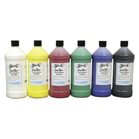 Sax True Flow Heavy Body Acrylic Paint, Assorted Colors, Quarts, Set of 6 (Acrylic Paint Colors)