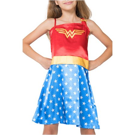 Girl's Wonder Woman One Shoulder Costume Warrior Princess Pajama Gown (Big Girls & Little Girls)