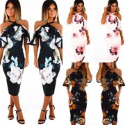 Women Strapless Halter Neck Off Shoulder Print Party Holiday Summer Sexy Floral Maxi Dress