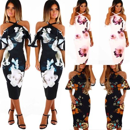 Women Strapless Halter Neck Off Shoulder Print Party Holiday Summer Sexy Floral Maxi Dress Halter Braided Summer Dress