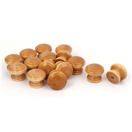 Unique Bargains Kitchen Cabinet Drawer Wood Wooden Pull Knob Grab Handle 28x23mm 15pcs Cabinet Wood Pulls