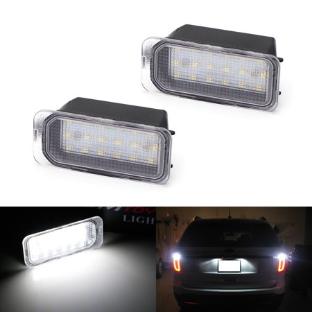 - iJDMTOY OEM-Fit 3W Full LED License Plate Light Kit For Ford C-Max Edge Transit Connect Ecosport Ranger, Jaguar XF XJ, Powered by 18-SMD Xenon White LED