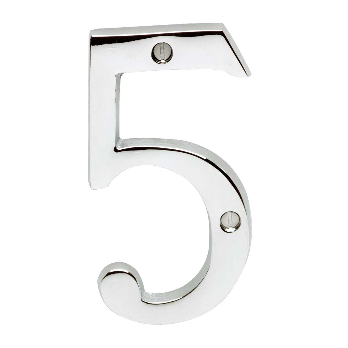 "Cast Solid Brass 3 7/8"" Address House Number '5' Chrome | Renovator's Supply"