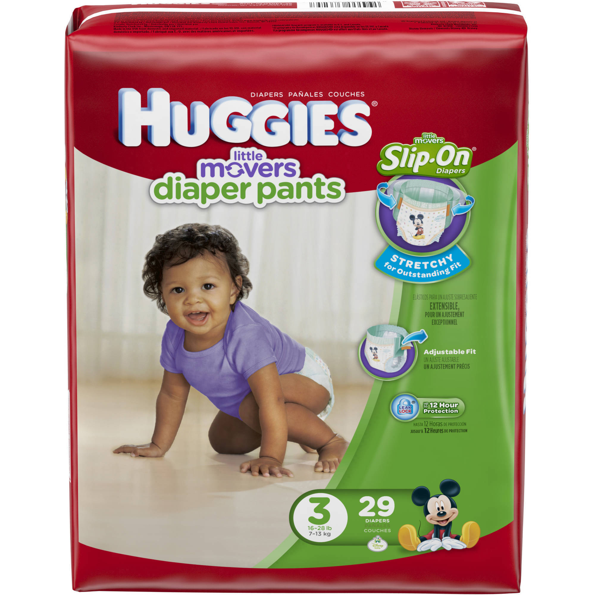 HUGGIES Little Movers Slip-On Diaper Pants, Size 3 (Choose Diaper Count)
