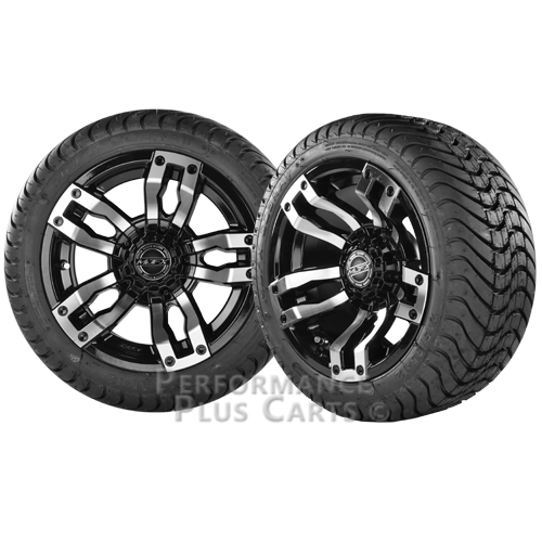 """Velocity 12"""" Black and Machined Golf Cart Wheels with Low Profile Street Tires"""