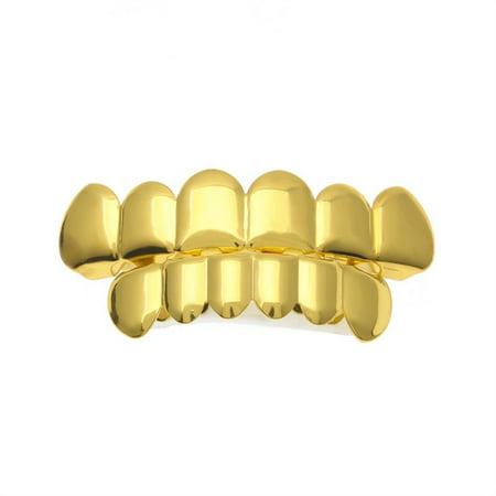 1 Set Men Women Gold Plated Hip Hop Teeth Grillz Top Bottom Grill Teeth Grills - Fake Grill Teeth