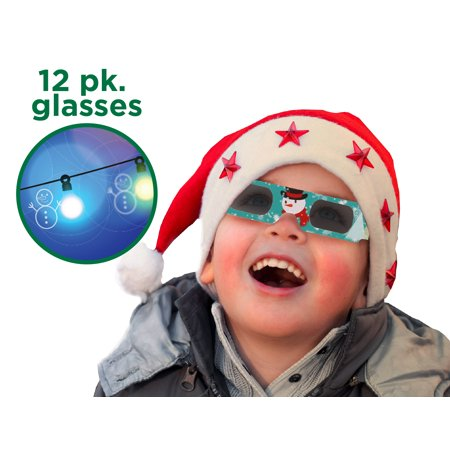 Holiday Specs 3D GLASSES-12pk Including Custom Designed Snowman Glasses, Look through Glasses and see Snowmen, Snowflakes, Santa, Gingerbread Men, Candy Canes or Reindeer Appear before your Eyes! ()