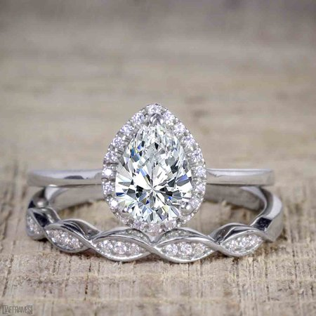 Artdeco scalloped 2 Carat Pear cut Moissanite and Diamond Wedding Ring Set for Women in White Gold
