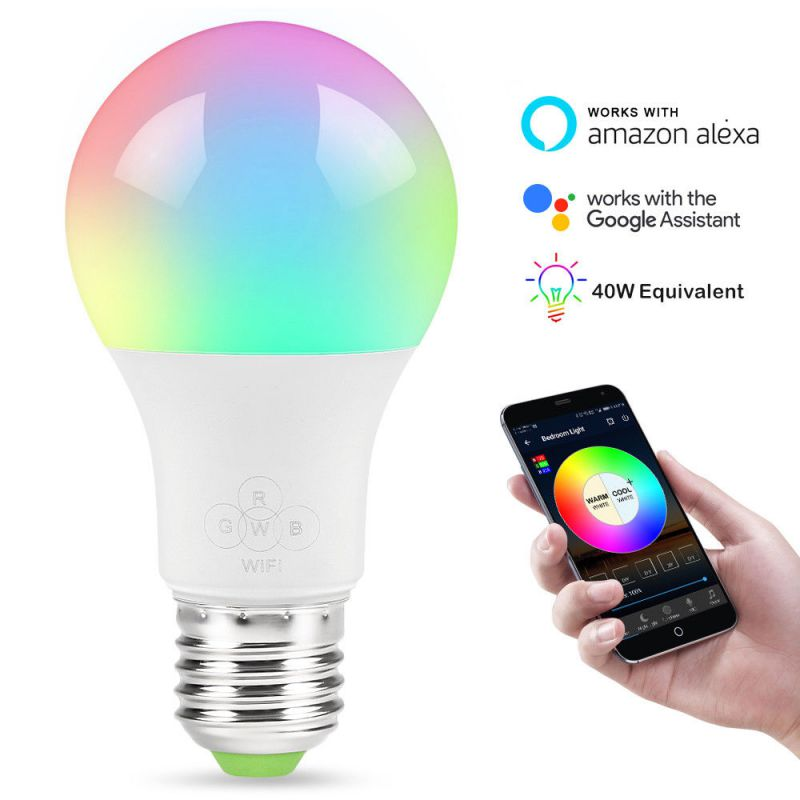 Smart WiFi LED Light Bulb, Free APP Remote Control, Compatible with Amazon Alexa & Google Assistant