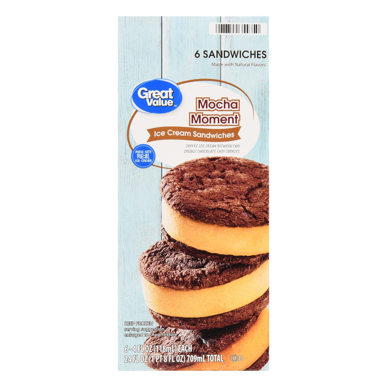 Great Value Mocha Moment Ice Cream Sandwich, 24 fl oz, 6 Count ...