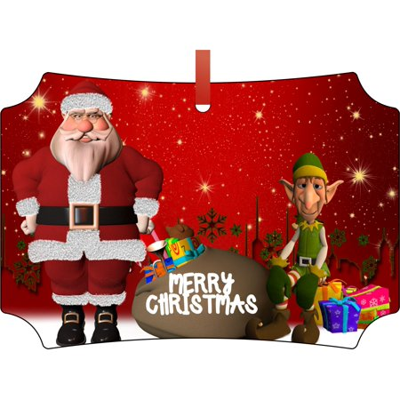 Merry Christmas Santa Claus and Elf Elegant Glossy Double Sided Aluminum Christmas Ornament Tree Decoration - Unique Modern Novelty Tree Décor Favors - Elf From Santa Claus