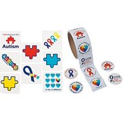 100 Stickers and 72 Tattoos Autism Awareness Bundle of 172 Pieces