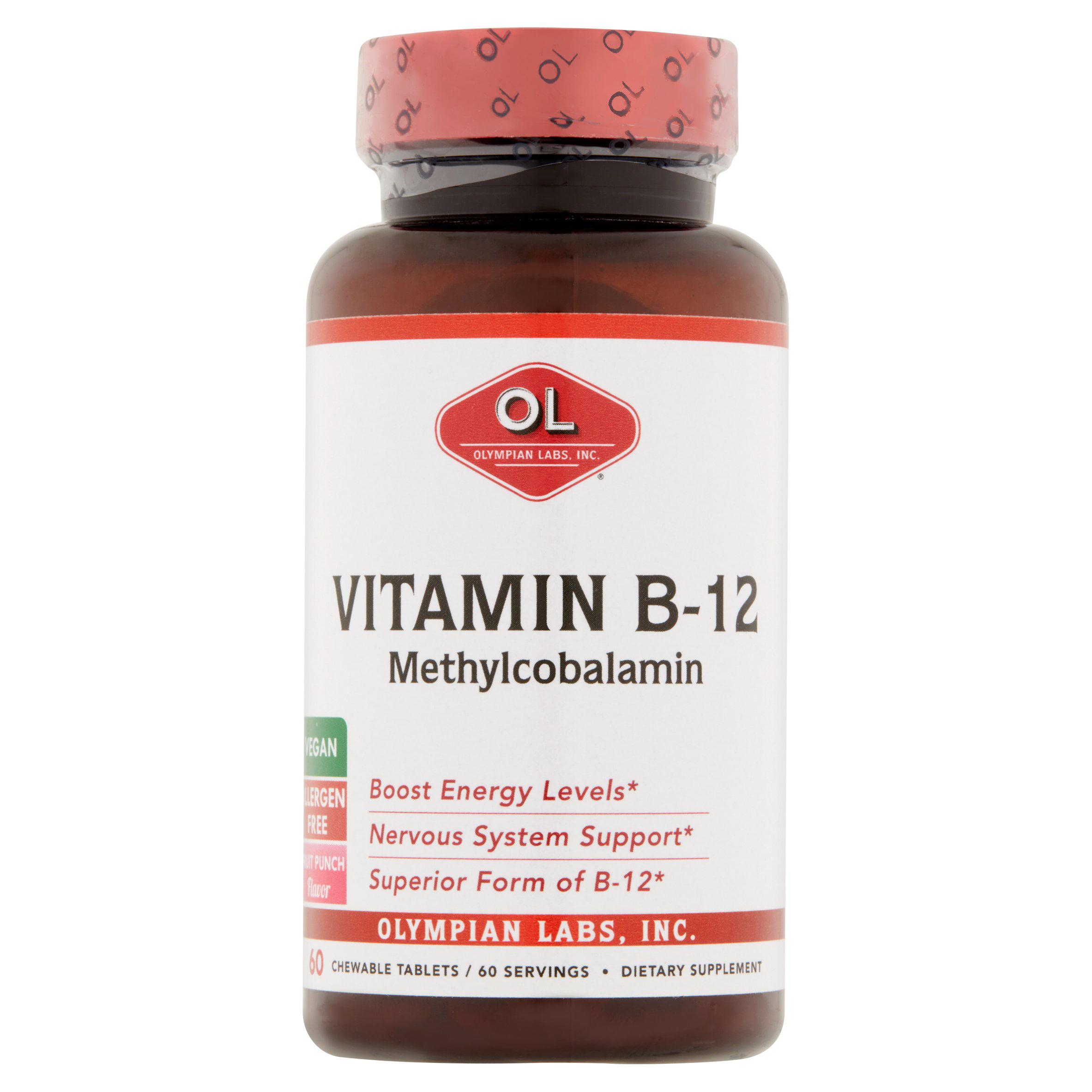 Olympian Labs Vitamin B-12 Methylcobalamin Chewable Tablets, 60 count
