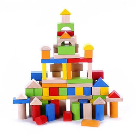 Classic Wooden Block Set 100 Pc Premium Durable Plain Colored Wood Building Blocks For Toddlers