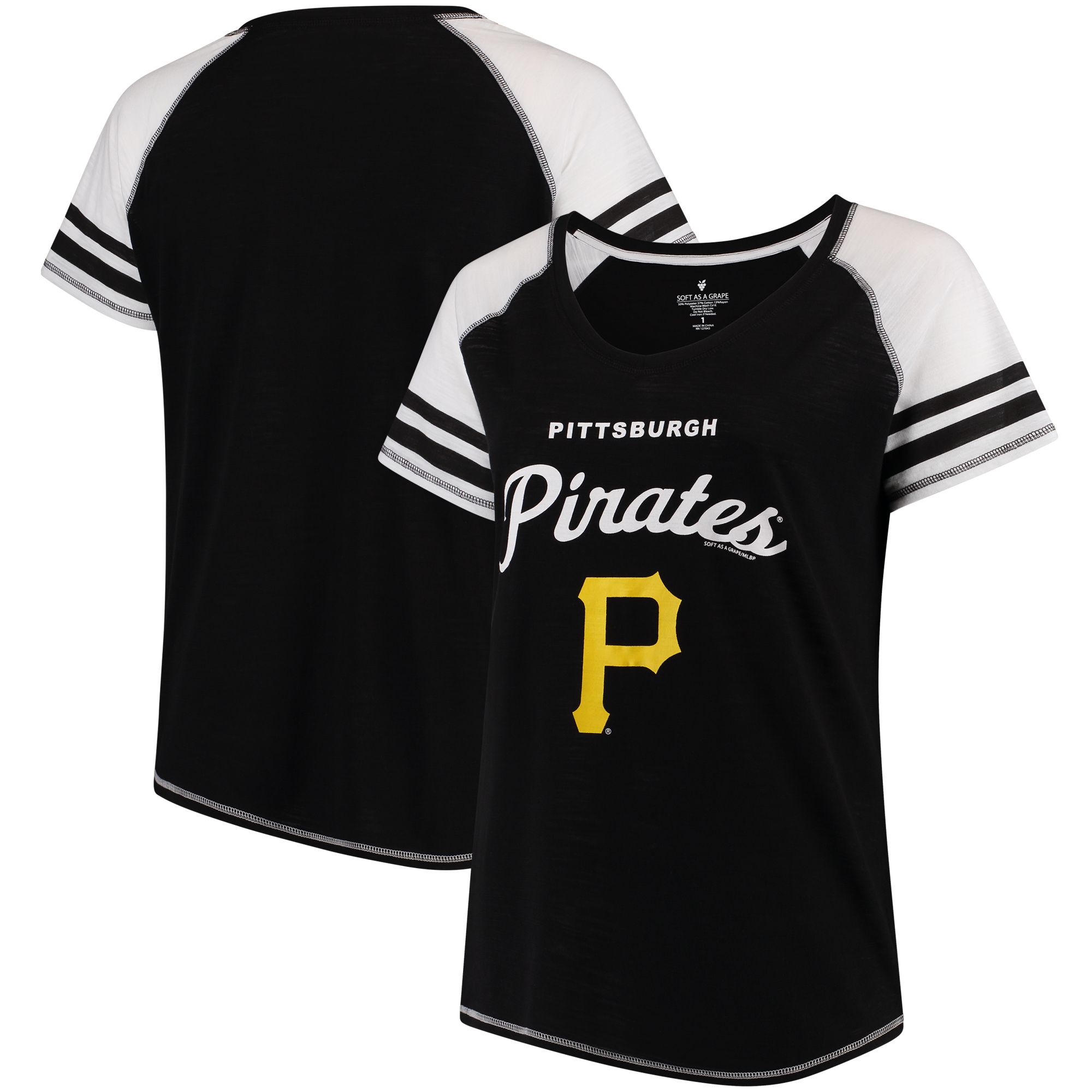 Pittsburgh Pirates Soft as a Grape Women's Plus Sizes Three Out Color Blocked Raglan Sleeve T-Shirt - Black