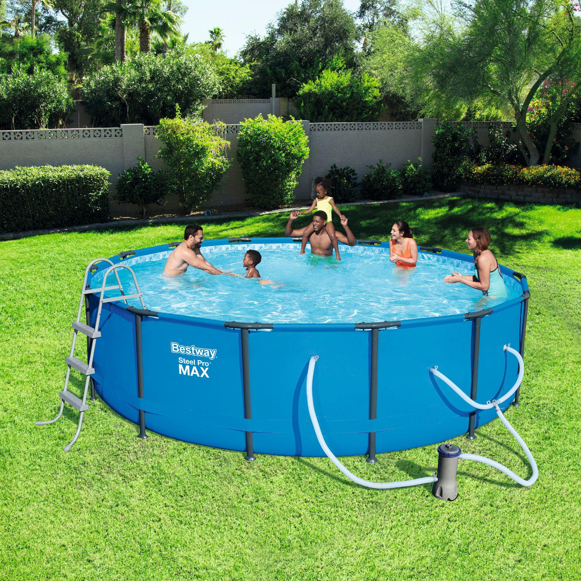 Bestway Steel Pro Max Swimming Pool Set With 1 000 Gph Filter Pump 15 X 42 Walmart Com Walmart Com