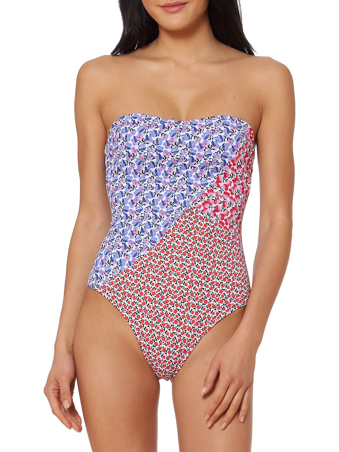 One-Piece Ditsy Floral Strapless Swimsuit