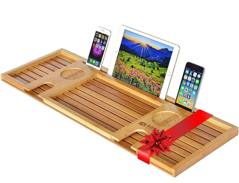 royal craft wood natural bamboo bathtub caddy/bath serving tray for 2, luxury bathtub