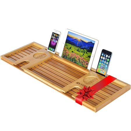 Royal Craft Wood Natural Bamboo Bathtub Caddy/Bath Serving Tray for 2: Him and Her - Luxury Bathtub Accessories Set ()