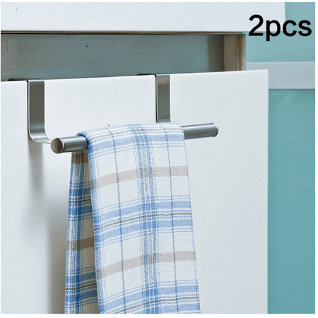 2pcs 9 Length Stainless Steel Towel Bar Holder Over The Kitchen Cabinet Cupboard Door Hook Organizer Hanging Hanger Rack Storage Holders
