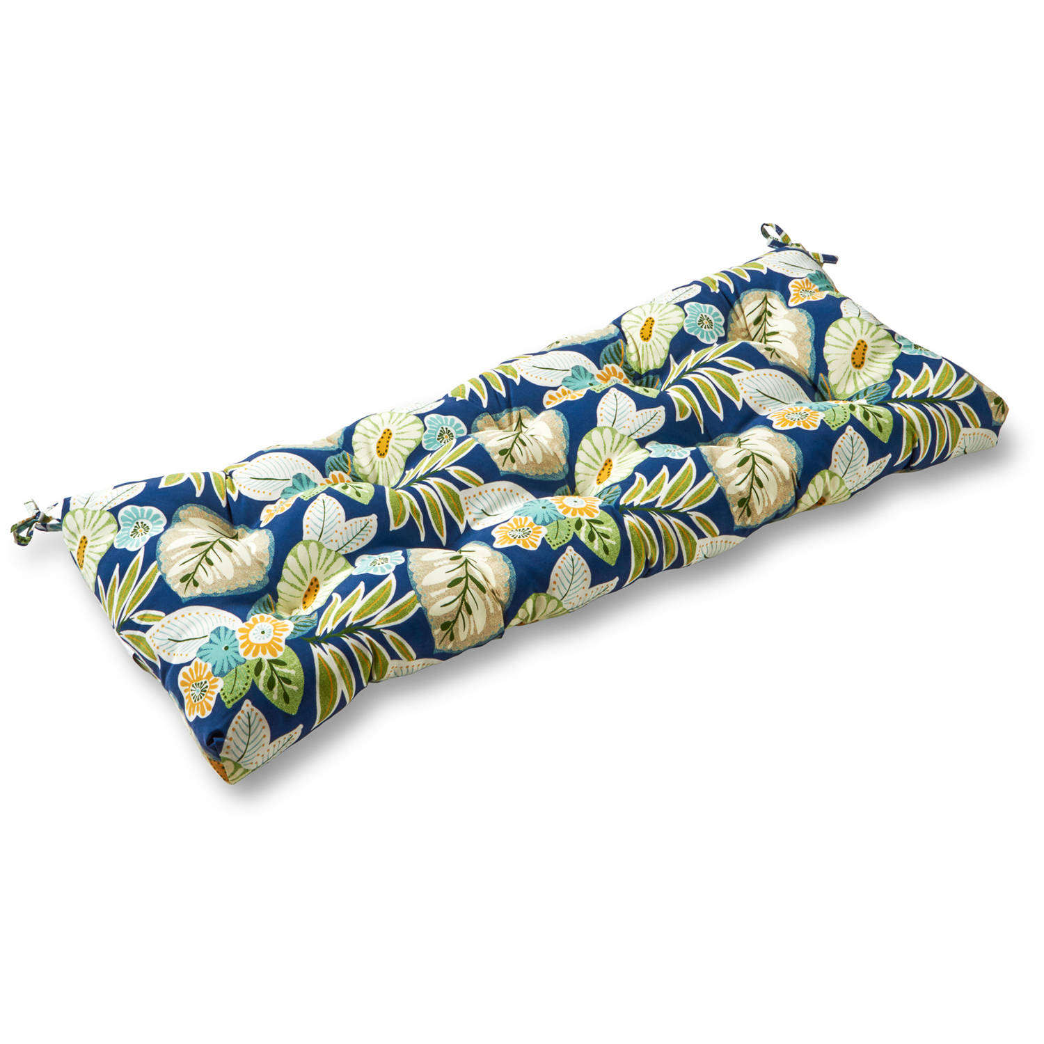 "Greendale Home Fashions 44"" Outdoor Swing/Bench Cushion, Blue Floral"