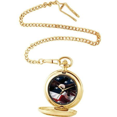Men's Flag and Eagle Pocket Watch, Gold