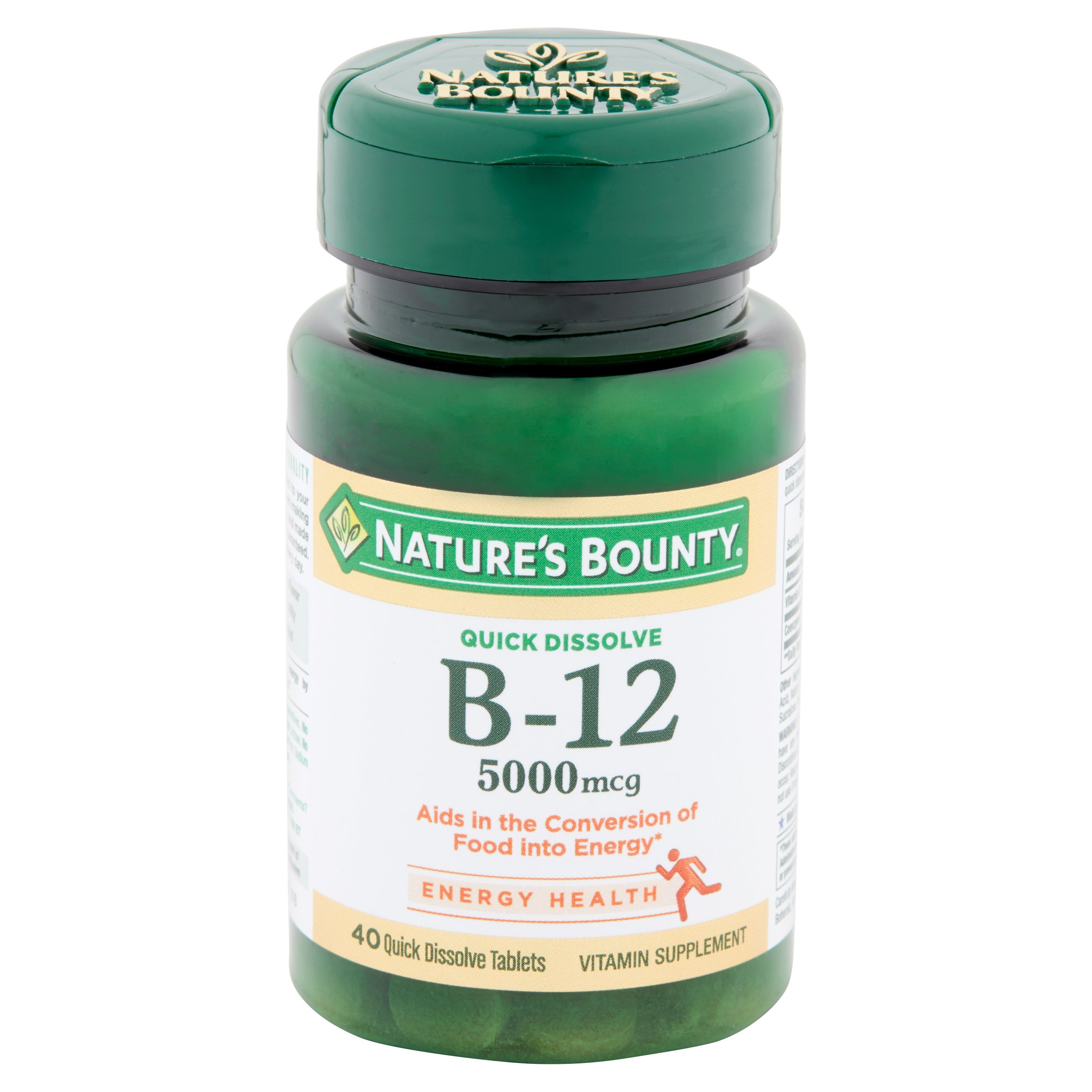 Nature's Bounty Quick Dissolve B-12 Tablets, 5000 mcg, 40 Ct