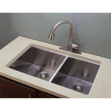 Belle Foret SC3320 Double Bowl Zero Radius Kitchen Sink, Stainless ...