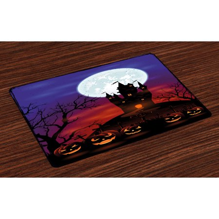 Halloween Placemats Set of 4 Gothic Haunted House Castle Hill Valley Night Sky October Festival Theme Print, Washable Fabric Place Mats for Dining Room Kitchen Table Decor,Multicolor, by Ambesonne for $<!---->