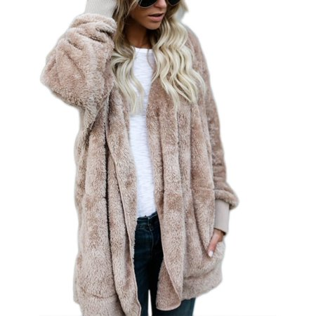 OUMY Womens Faux Fur Warm Long Coat Hooded Jacket Parka Cardigan (Womens Faux Fur Cardigan)