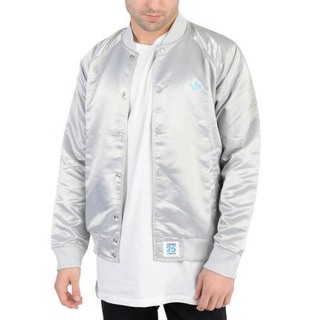 (Adidas Mens NYC Satin Super Star Button Down Track Jacket Light Grey)